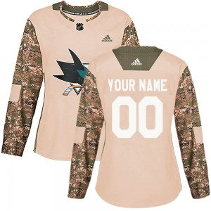 Women's San Jose Sharks Custom Adidas Authentic ized Veterans Day Practice Jersey - Camo