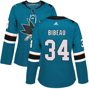Women's San Jose Sharks Antoine Bibeau Adidas Authentic Home Jersey - Teal