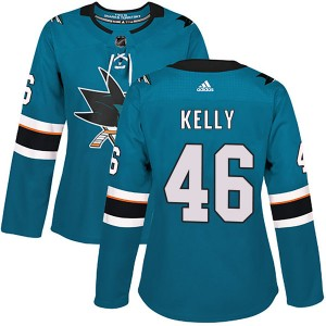 Women's San Jose Sharks Dan Kelly Adidas Authentic Home Jersey - Teal