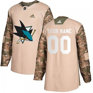 Youth San Jose Sharks Custom Adidas Authentic ized Veterans Day Practice Jersey - Camo