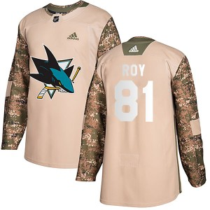 Youth San Jose Sharks Jeremy Roy Adidas Authentic Veterans Day Practice Jersey - Camo