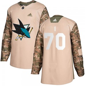 Youth San Jose Sharks Alex True Adidas Authentic Veterans Day Practice Jersey - Camo